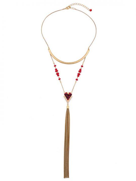 V tassel design necklace red and gold