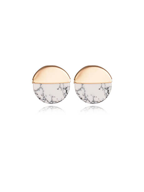 round marble stud earrings