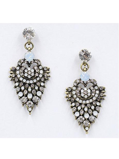 earring jewellery design detail - Sky Crystal Stone Statement Earrings