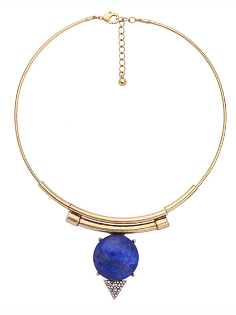 blue stone modern collar necklace