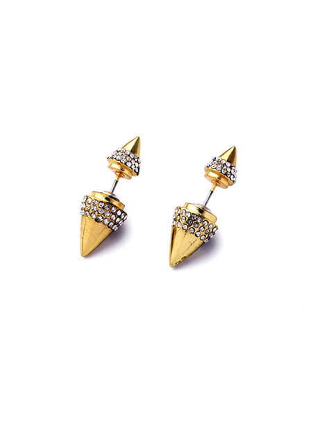 gold point rivet jacket earrings