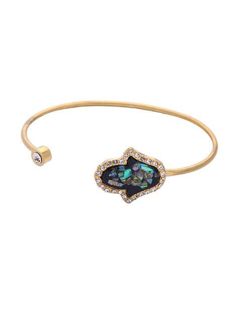 iridescent gold open hand bracelet