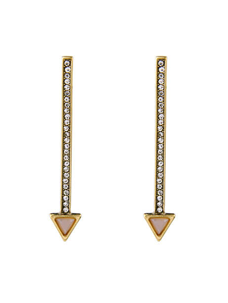 pave stone long earrings