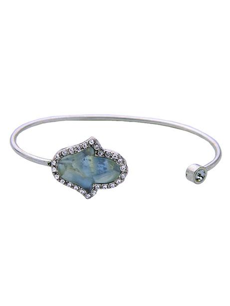 Open hand silver bracelet