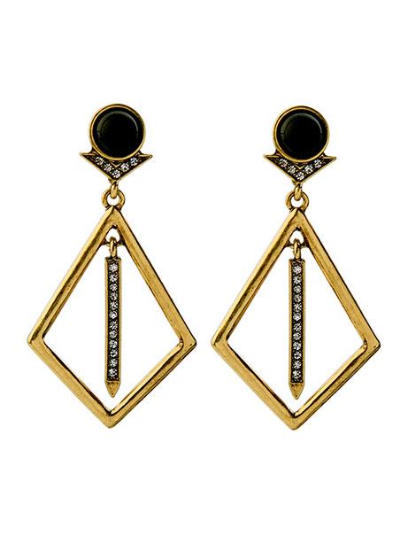 zeon black gold earrings