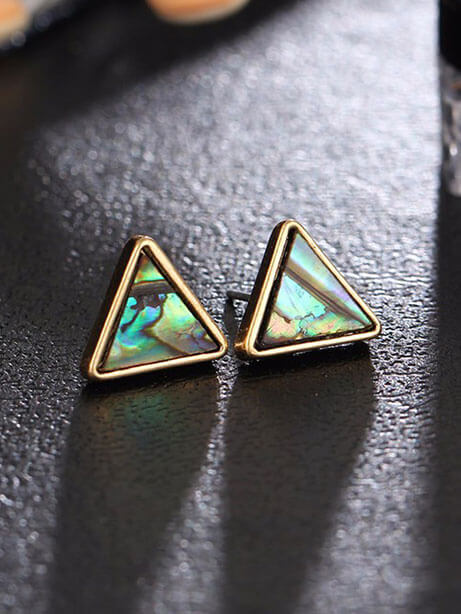 Abalone S Triangle Natural Stone Stud Earrings