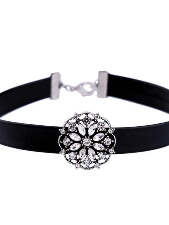 Floral Crystal Choker Necklace 1