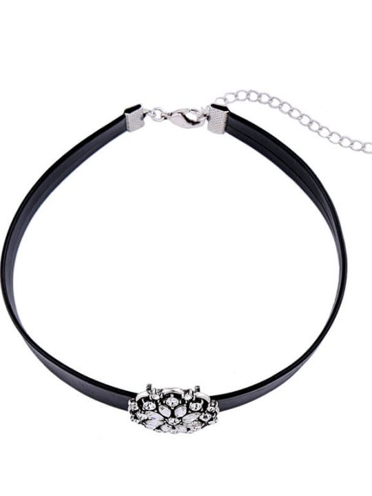 Floral Crystal Choker Necklace 3