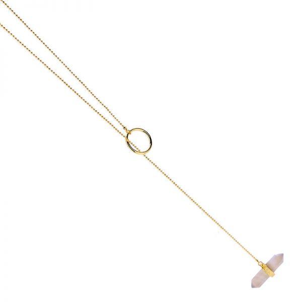 iridescent stone midi y necklace 2