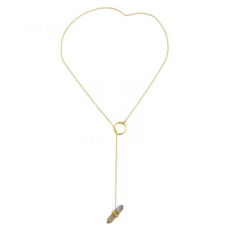iridescent stone midi y necklace 3
