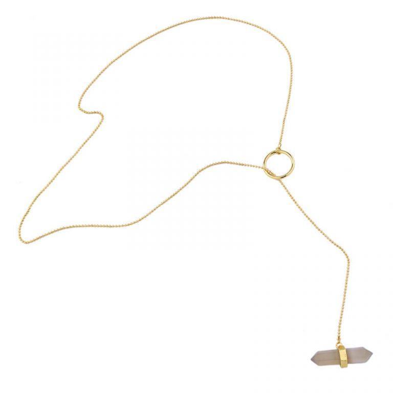 iridescent stone midi y necklace 4