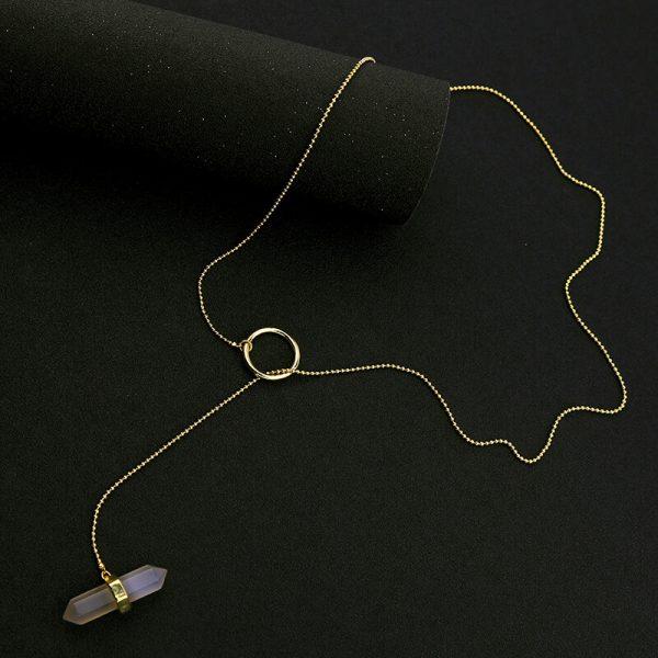 iridescent stone midi y necklace 5