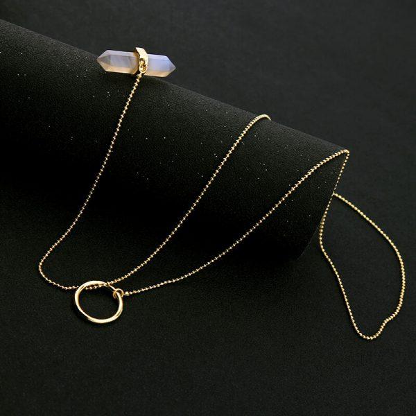iridescent stone midi y necklace 6