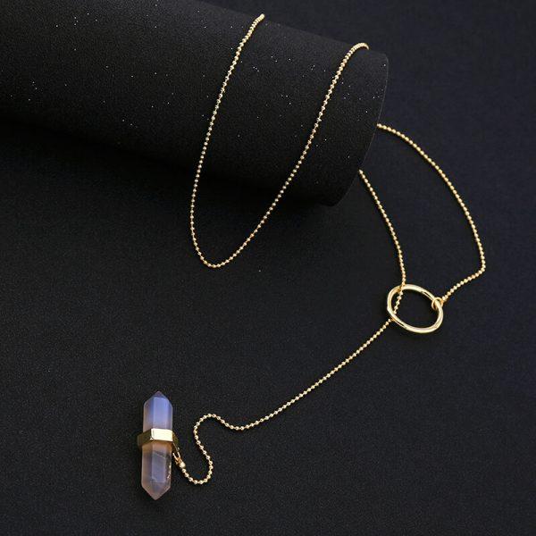 iridescent stone midi y necklace 7