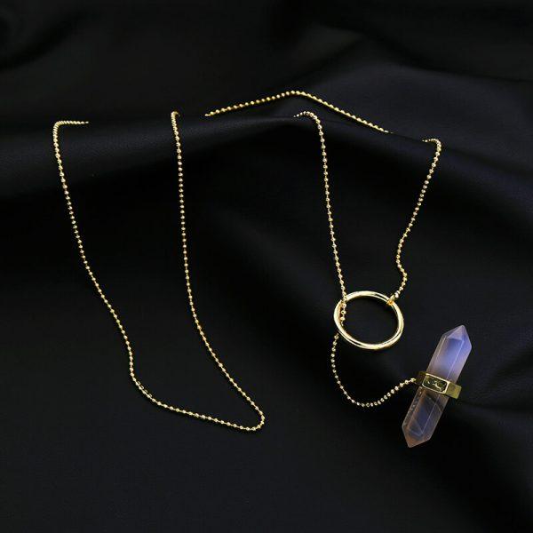 iridescent stone midi y necklace 8