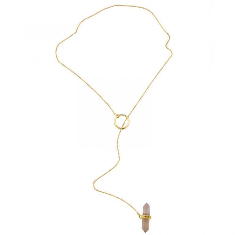 iridescent stone midi y necklace 9