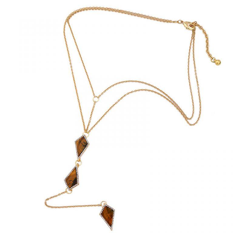 tigers eye stone midi y necklace 1