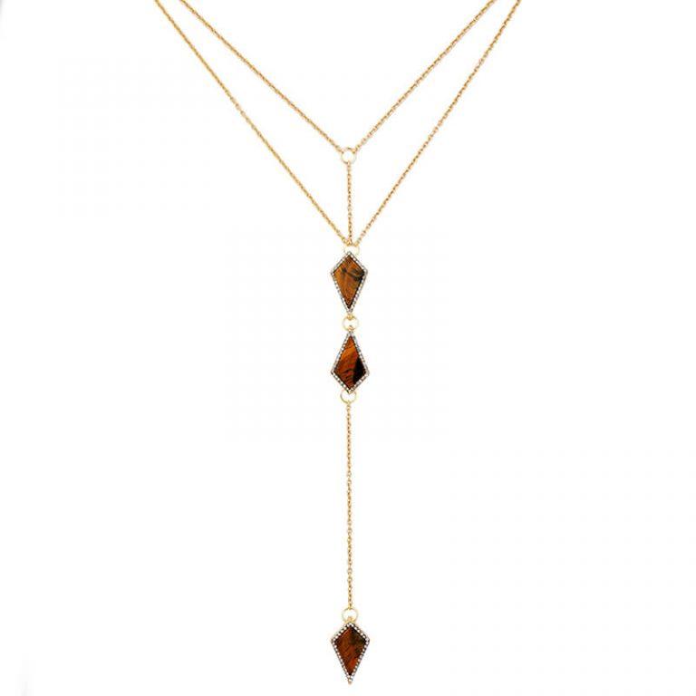 tigers eye stone midi y necklace 2