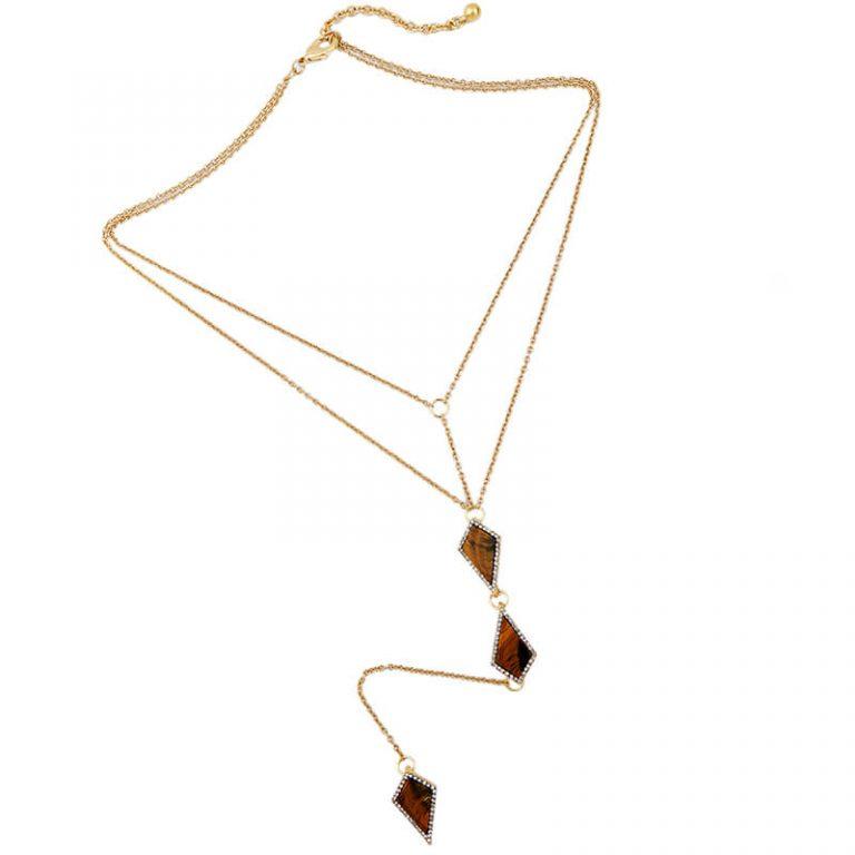 tigers eye stone midi y necklace 3