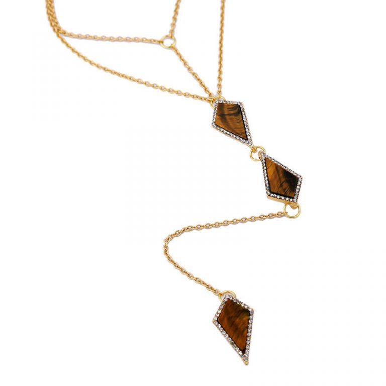 tigers eye stone midi y necklace 4