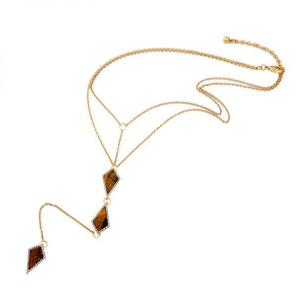 tigers eye stone midi y necklace 5