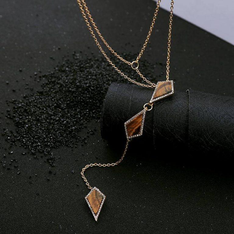 tigers eye stone midi y necklace 6