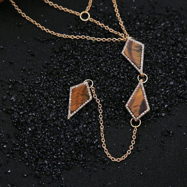 tigers eye stone midi y necklace 7