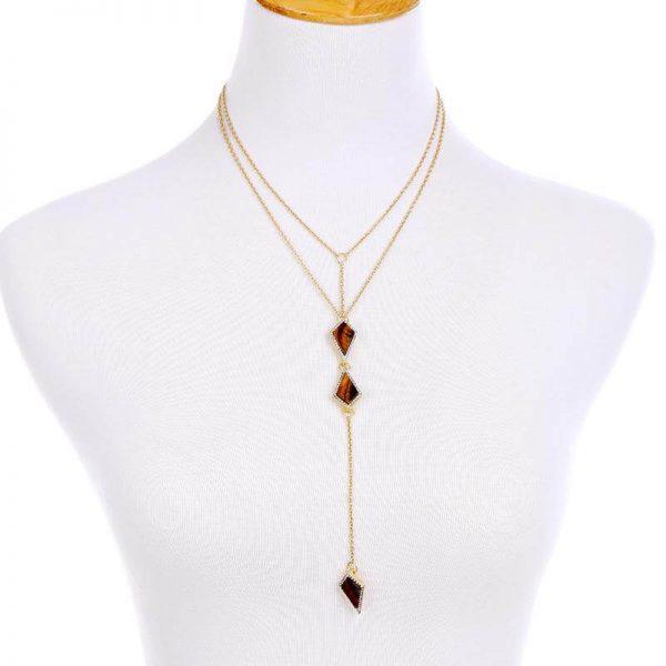 tigers eye stone midi y necklace 8