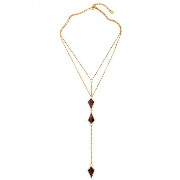 tigers eye stone midi y necklace 9