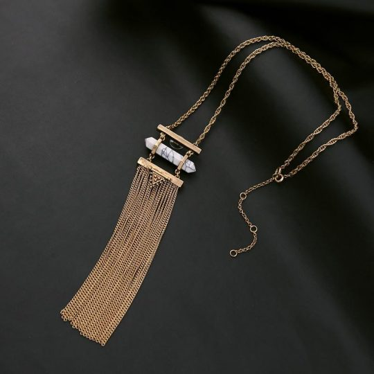 white marble druzy tassel necklace 10