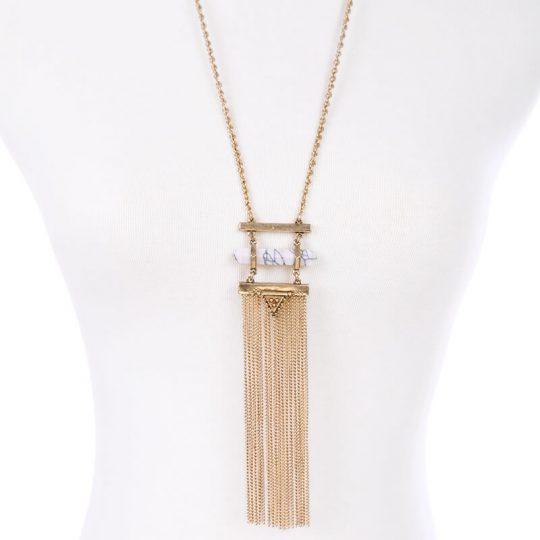 white marble druzy tassel necklace 4
