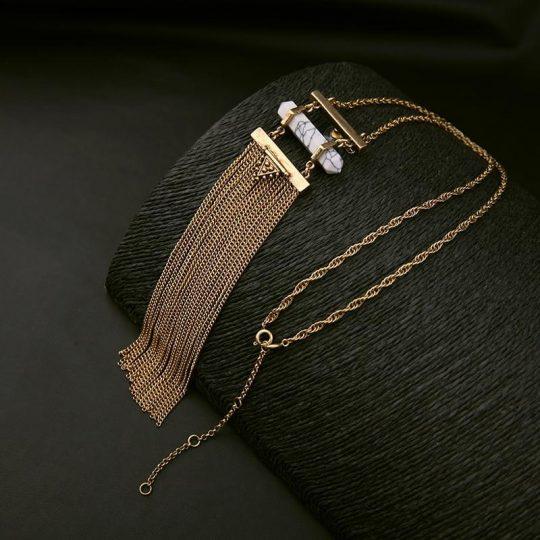 white marble druzy tassel necklace 7