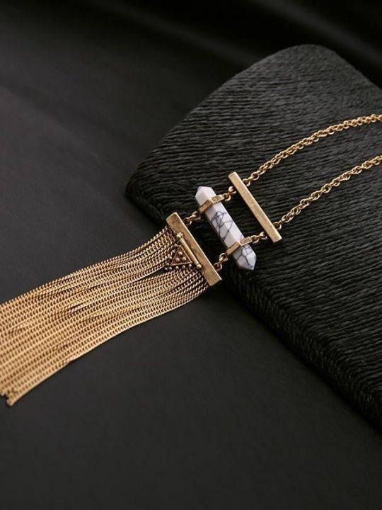 white marble druzy tassel necklace 8