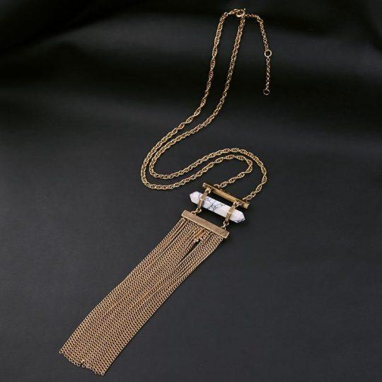 white marble druzy tassel necklace 9