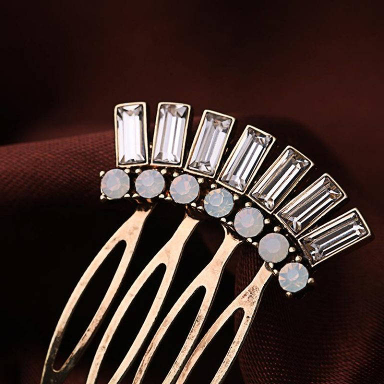 white stone hair comb clip