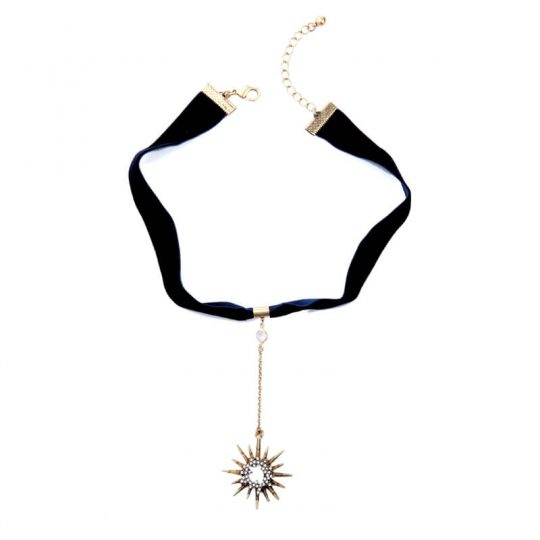 Black Star Pendant Choker Necklace