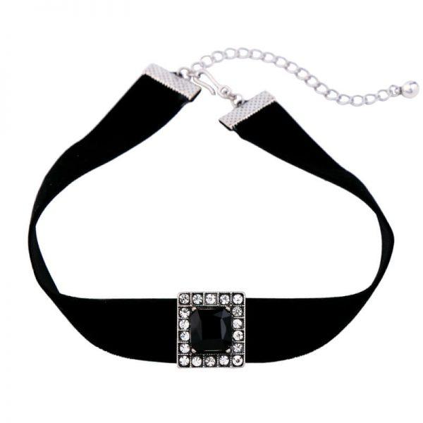 black crystal pendant choker necklace