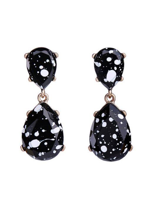 black white paint splatter statement earrings 2