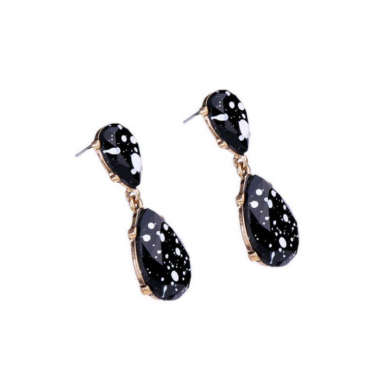 black white paint splatter statement earrings 3