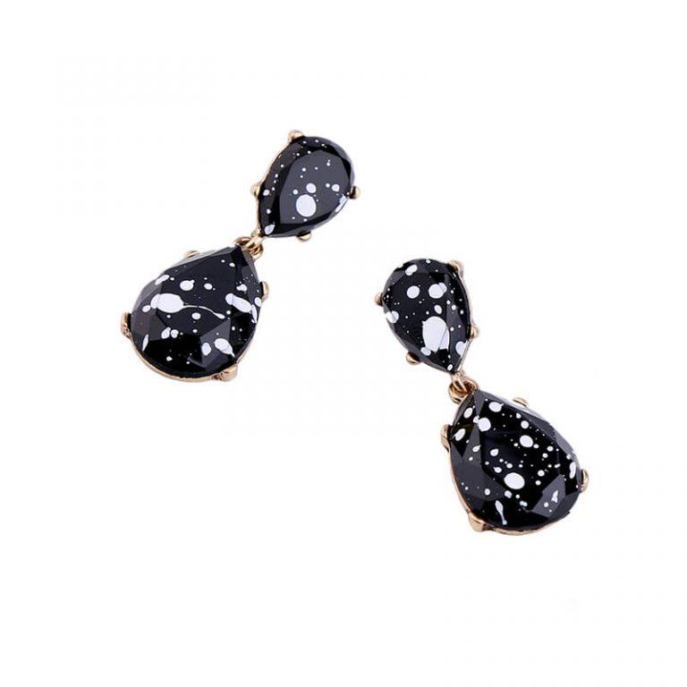 black white paint splatter statement earrings 4