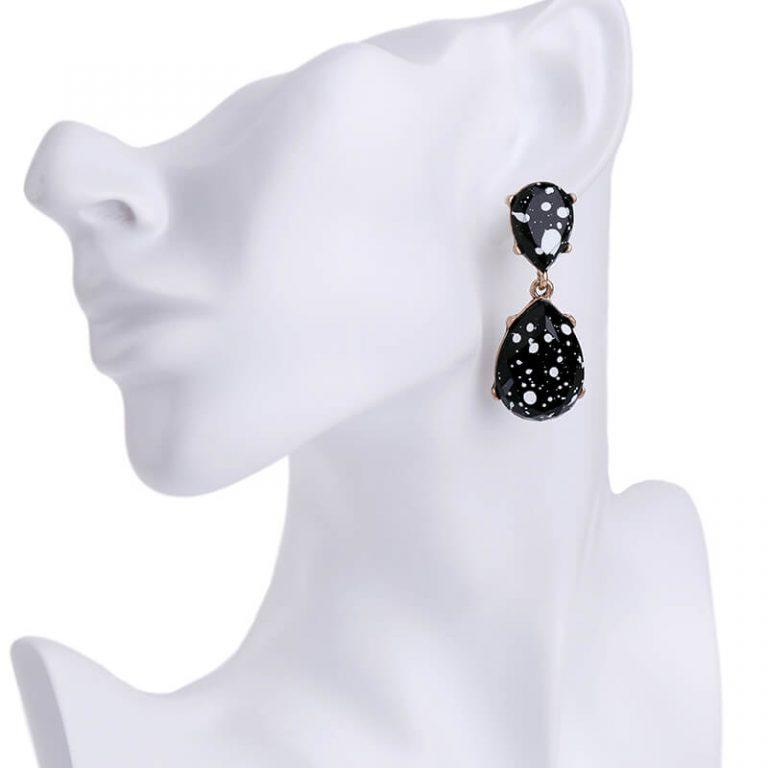 black white paint splatter statement earrings 5
