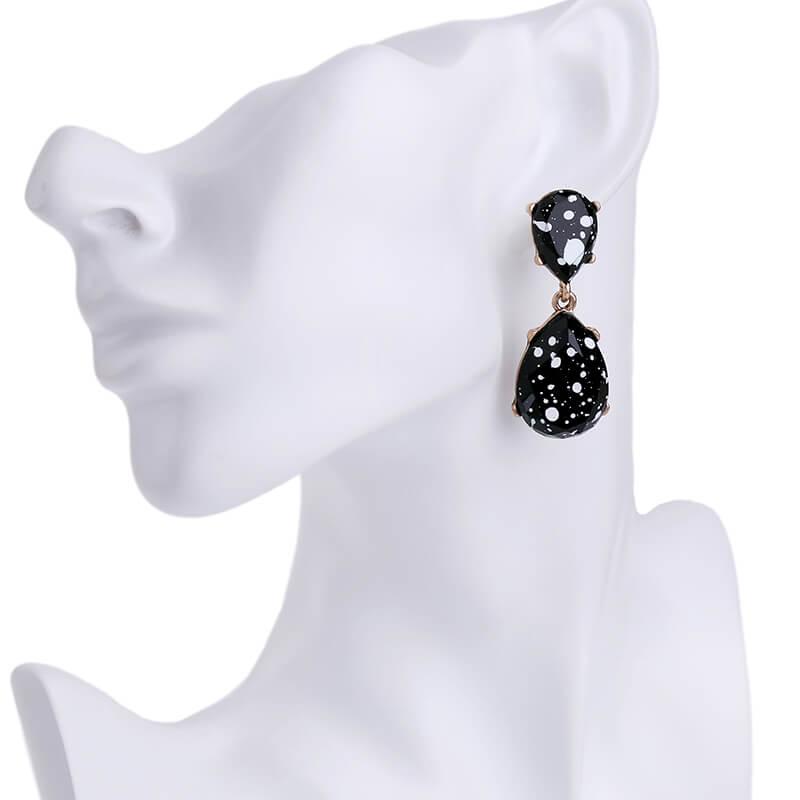 6a96b3ab0 ... black white paint splatter statement earrings 5. Home>Jewelry>Earrings> Black ...