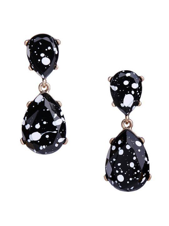 black white paint splatter statement earrings