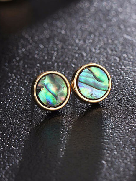 Abalone S Circle Natural Stone Stud Earrings 2