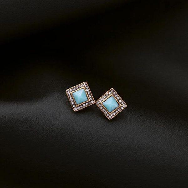 Mint Stone Square Stud Earrings 2