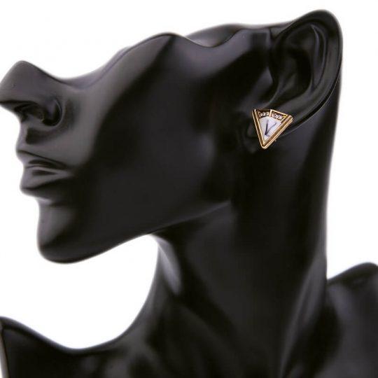 White Marble Triangle Stone Stud Earrings 1
