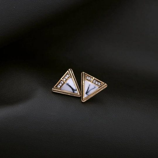 White Marble Triangle Stone Stud Earrings 2