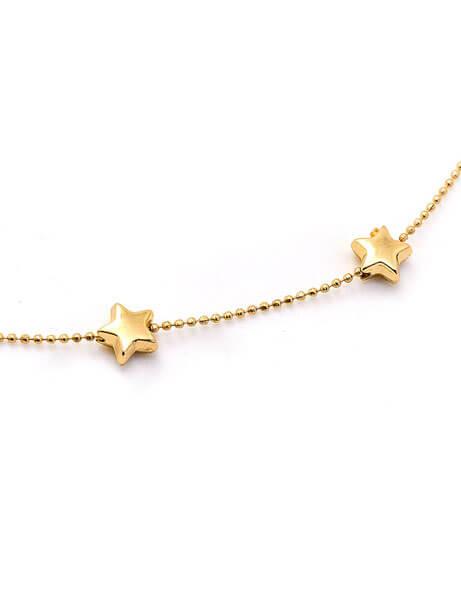 Multi Gold Star Thin Choker Necklace