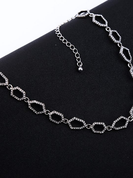 Aspect Stone Silver Collar Statement Necklace 1