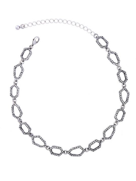 Aspect Stone Silver Collar Statement Necklace 2